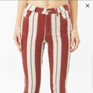 High Waisted Maroon and White Striped Pants